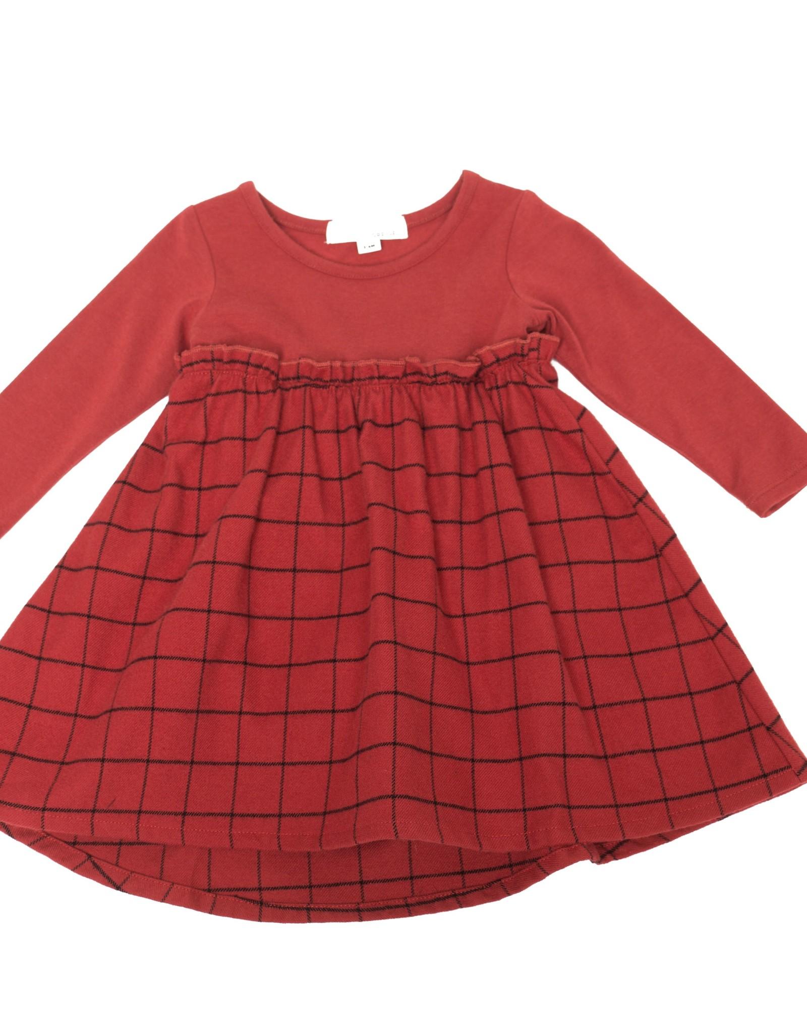 Greige Greige FA20 Long Sleeve Remix Dress- Maple Red
