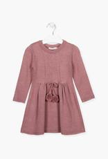 Losan FA20  Knit Dress - pink sparkle w/ pom poms
