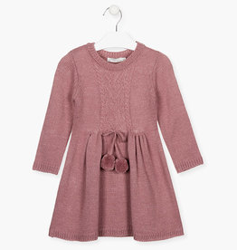 Losan FA20  Knit Dress - pink sparkle w/ pom poms