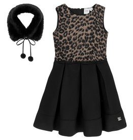 DeuxParDeux FA20 NEOPRENE DRESS WITH LEOPARD PATTERN & COLLAR SET