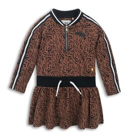 Koko Noko FA20 Brown Leopard Print  Dress w/ Zip