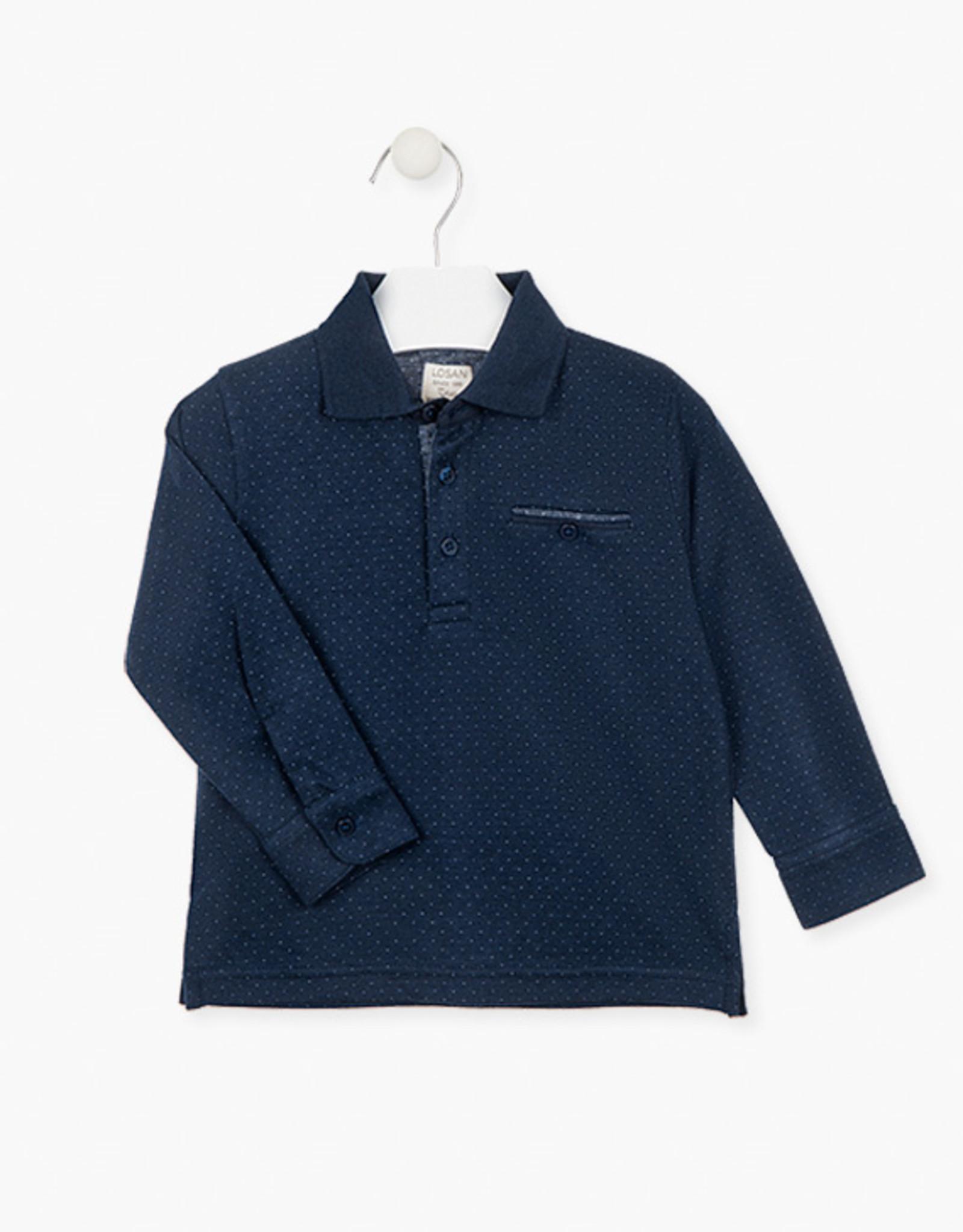 Losan FA20 Boys Long Sleeve Navy Polo