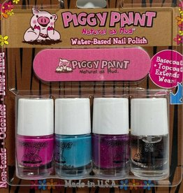 Piggy Paint 3 Color Polish Set w/file + Basecoat