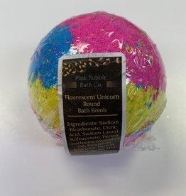 Pink Bubble Bath Co Flourscent Unicorn Round  BathBomb