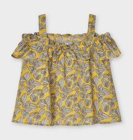 Mayoral SP21 G Strappy Yellow Print Blouse