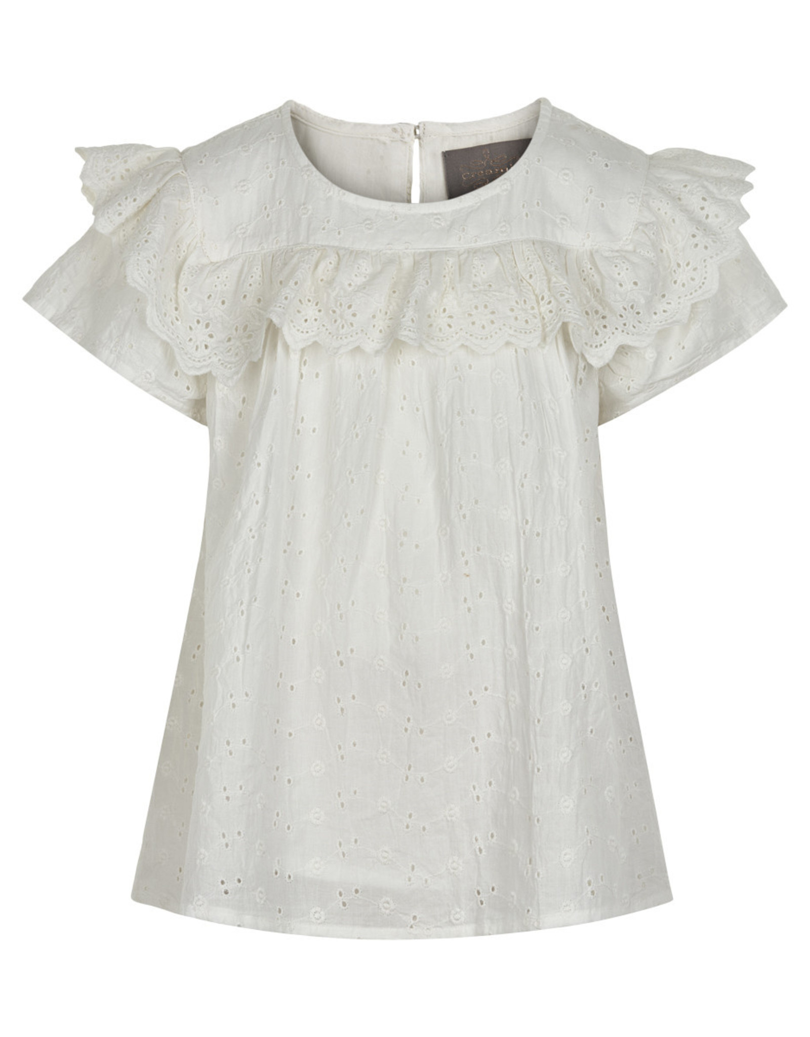 Creamie SP21 G Cream Embroidered Blouse