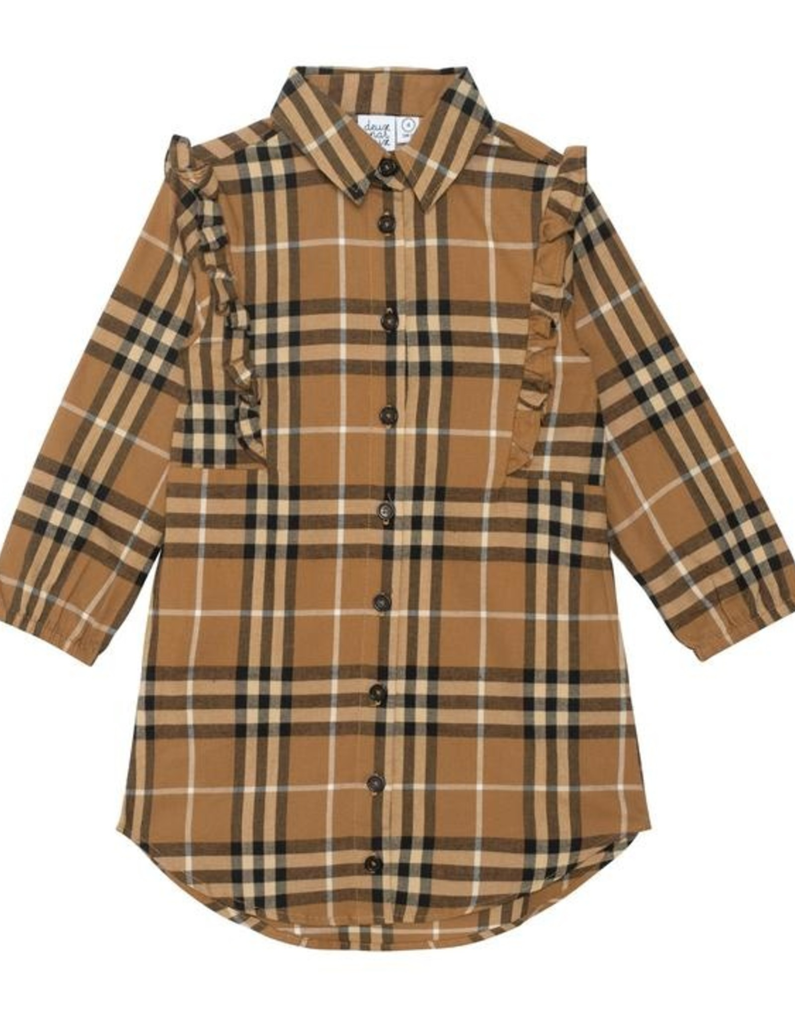DeuxParDeux FA21 G Brown Plaid Dress w/Frill