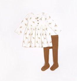 Petit Lem FA21 Wheat Print Dress & Tights