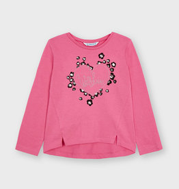 Mayoral FA21 G 'With Love' Heart Pink Top