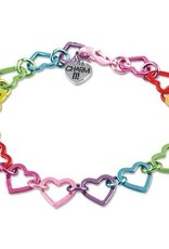 Charm It! Rainbow Heart Link Bracelet