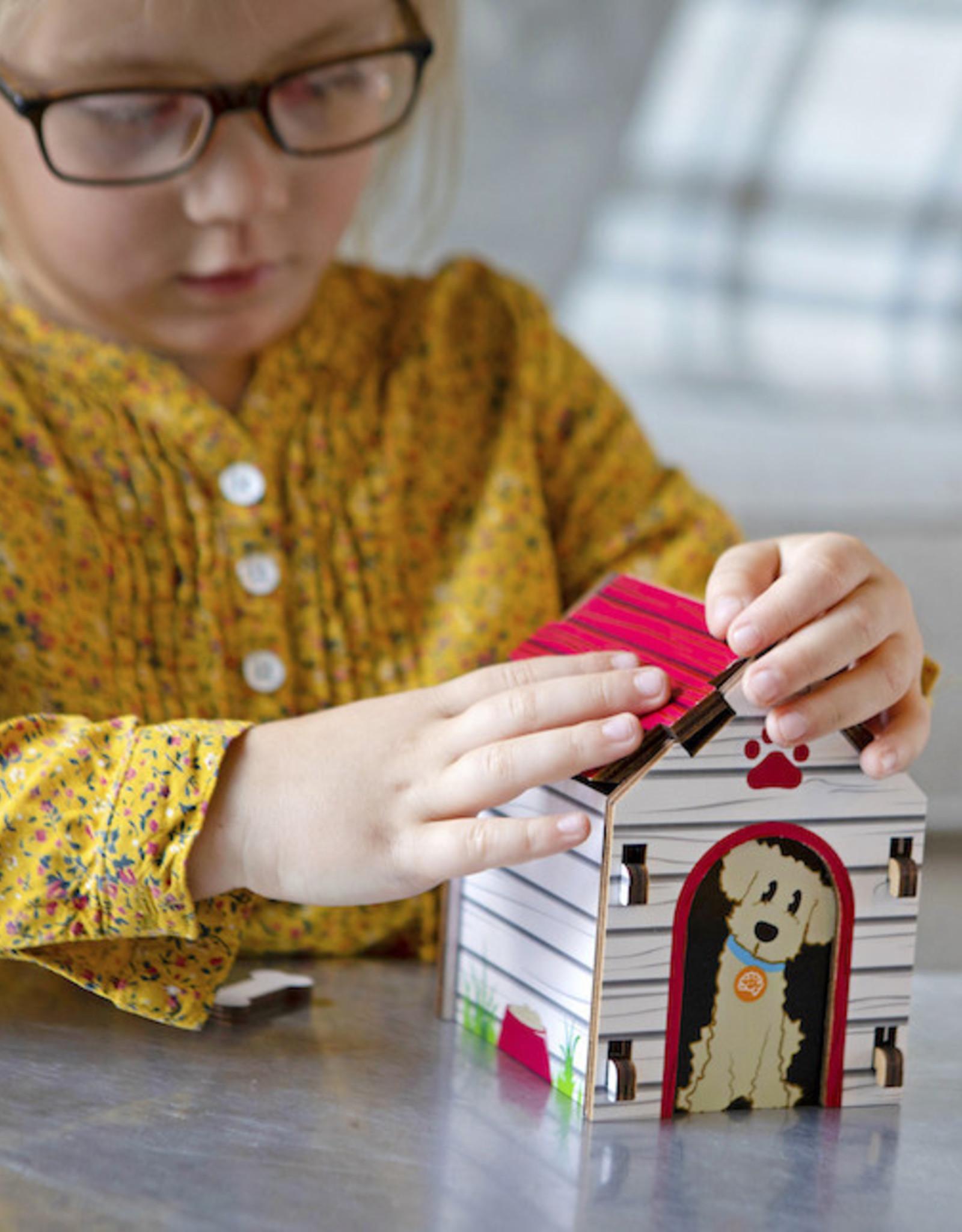 Fat Brain Toys Build It Blueprint Puzzle, Doghouse