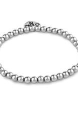 Charm It! Bead Stretch Bracelet Silver 4mm