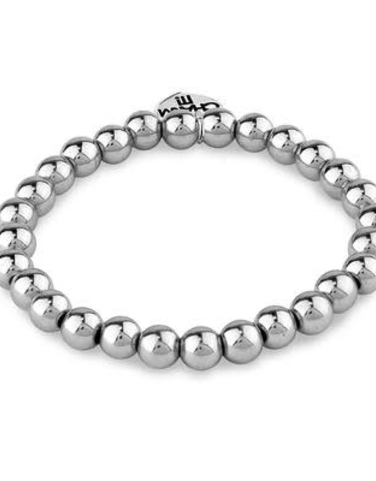 Charm It! Bead Stretch Bracelet Silver 6mm