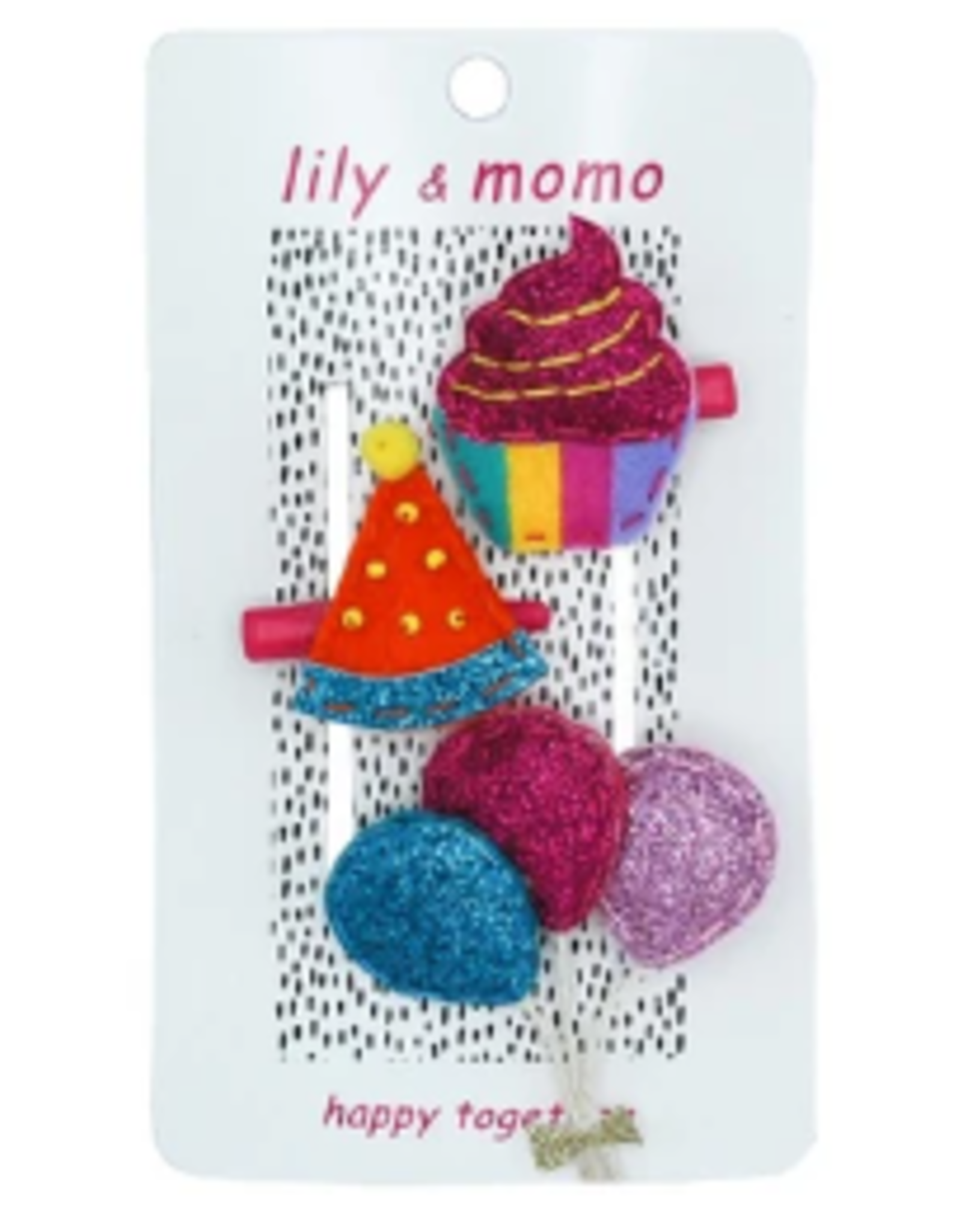 Lily & Momo Party Time Bow Trio, raspberry and tangerine