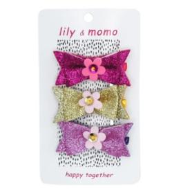 Lily & Momo Trio Hair Clip Glitter Multi Flower Glitter Bow Trio