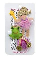 Lily & Momo Trio Hair Clip Pink/Purple/Green Princess & Frog
