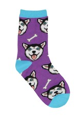 SockSmith Happy Husky purple large