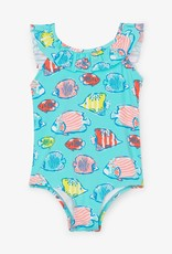 Hatley Colorful Fishies Ruffle Sleeve Swimsuit