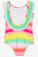 Hatley Shimmer Rainbow Ruffle Sleeve Swimsuit