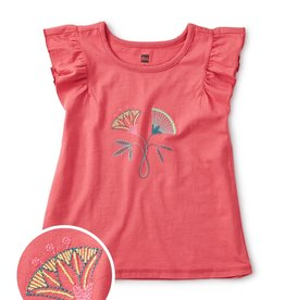 Tea Embroidered Flower Flutter Tee 2SP20