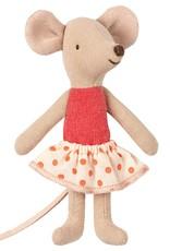 Maileg Little Sister Mouse in Box, Polka Dot Skirt, Blue Striped Blanket