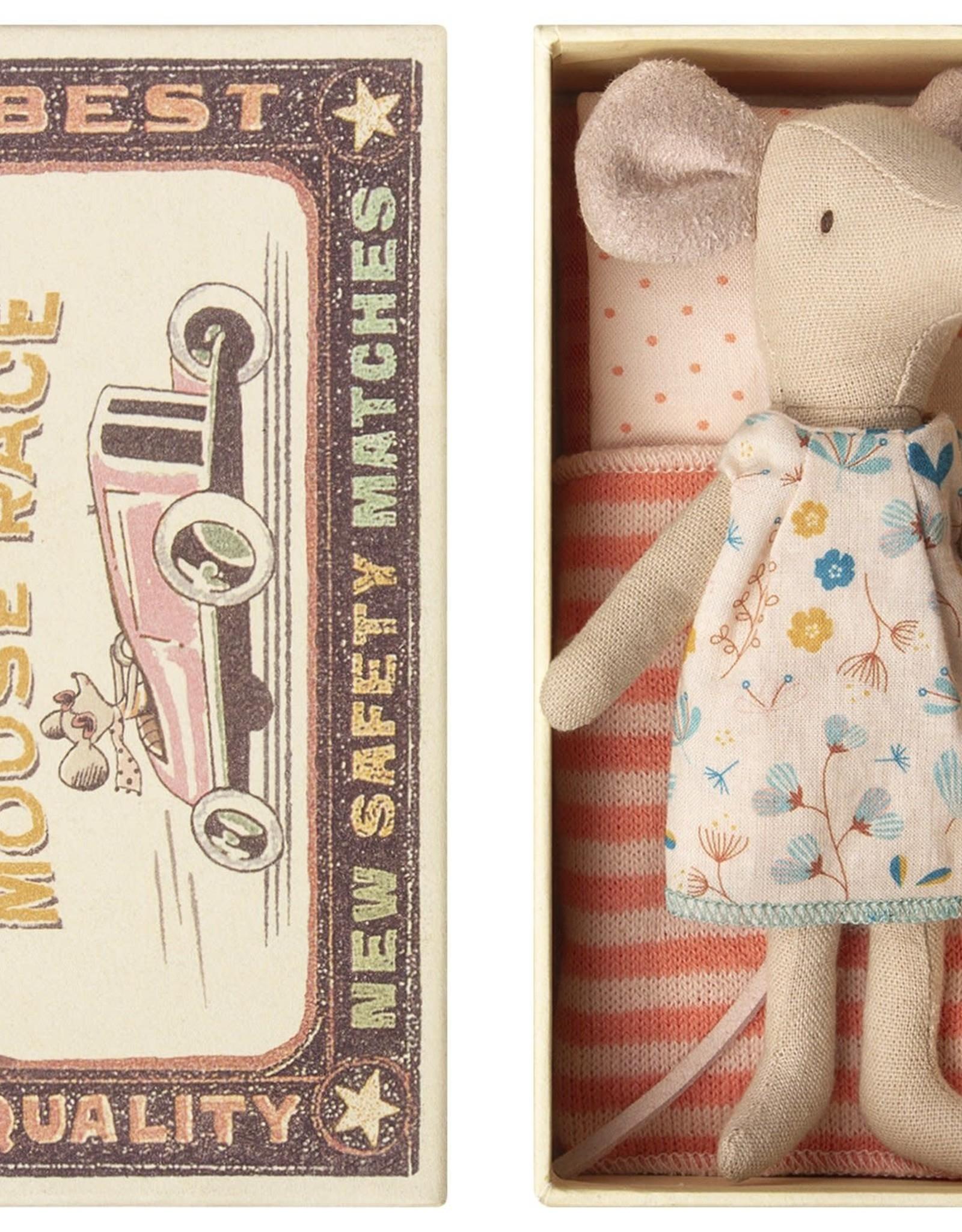 Maileg Big Sister Mouse in Box, Pink Striped Dress, Orange Bedding