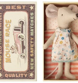 Maileg Big Sister Mouse in Box, Pink Striped Dress, Orange Bedding