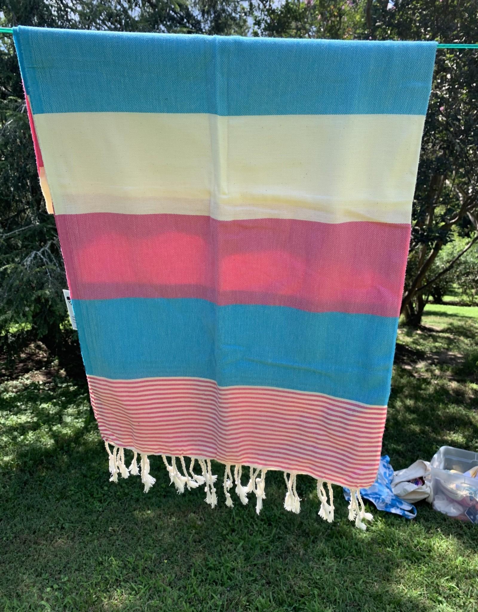 Turkish Towel - Blue, Pink, Cream Stripe