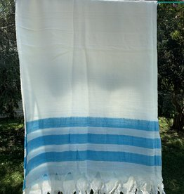 Turkish Towel - White w/ Aqua stripes