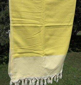 Turkish Towel - Yellow w/ white stripes