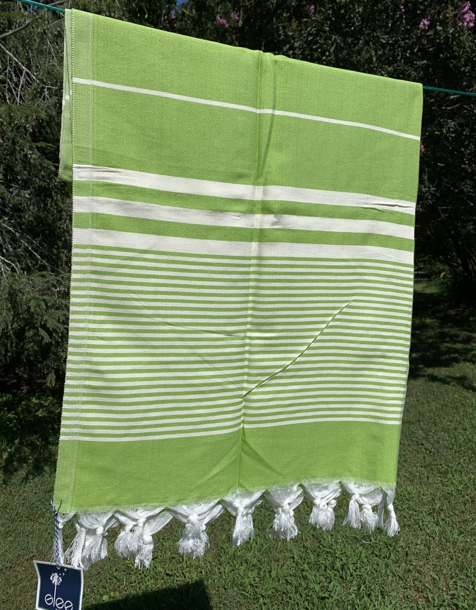 Turkish Towel - Green w/ White Stripes