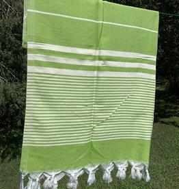 Turkish Towel - Green w/ White Stripes