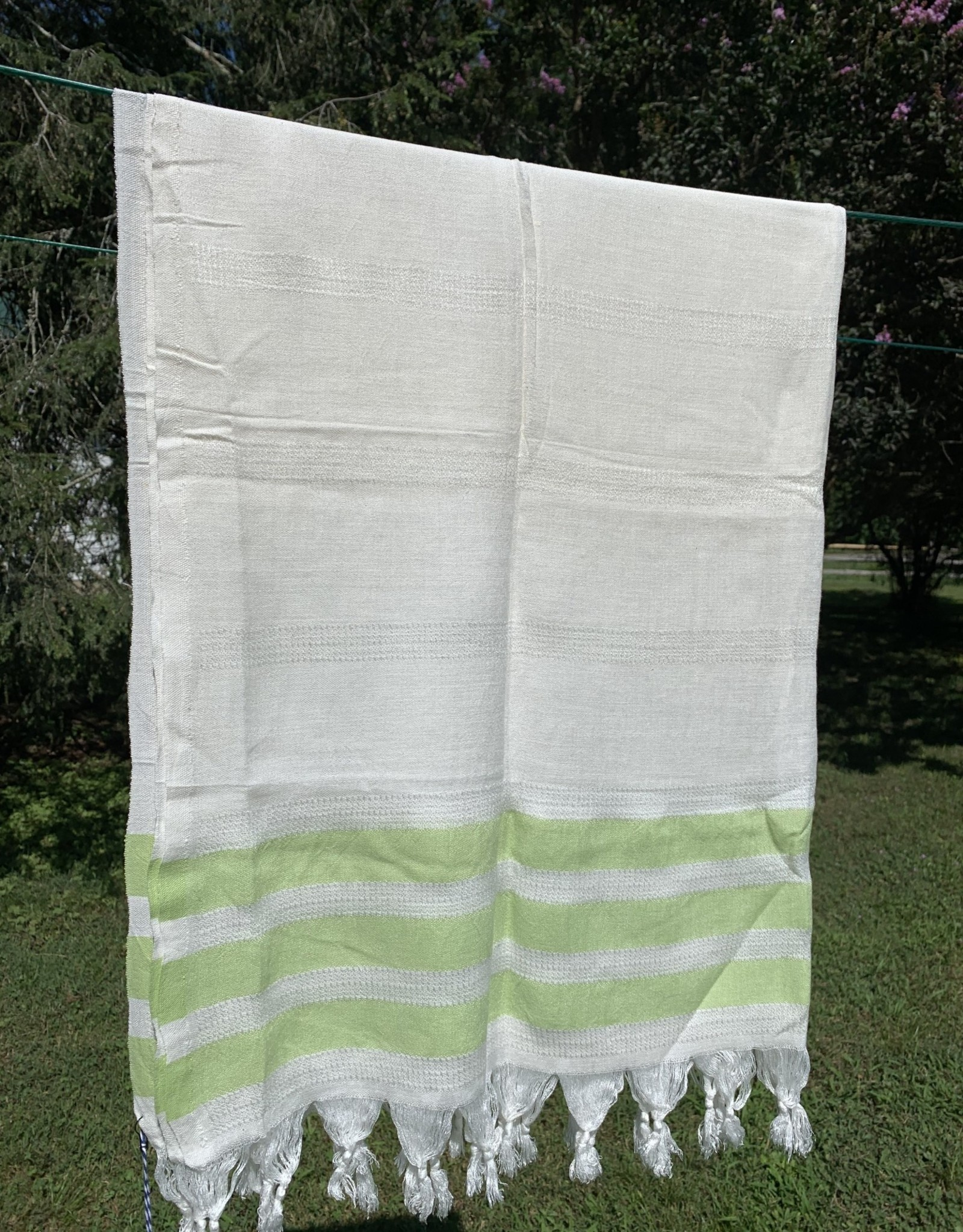 Turkish Towel - White w/ Green Stripes