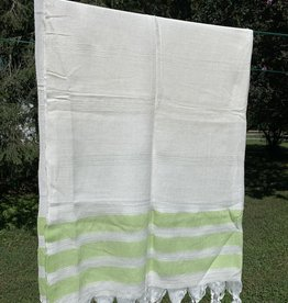 Turkish Towel - White w/ Green Stripes