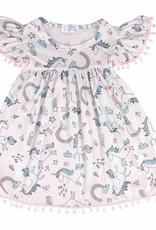 Mila & Rose Unicorn Rainbow Pom Pom Dress
