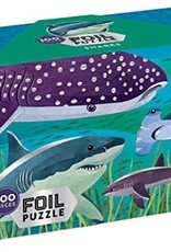 Mudpuppy Foil Puzzle, Sharks 100pc