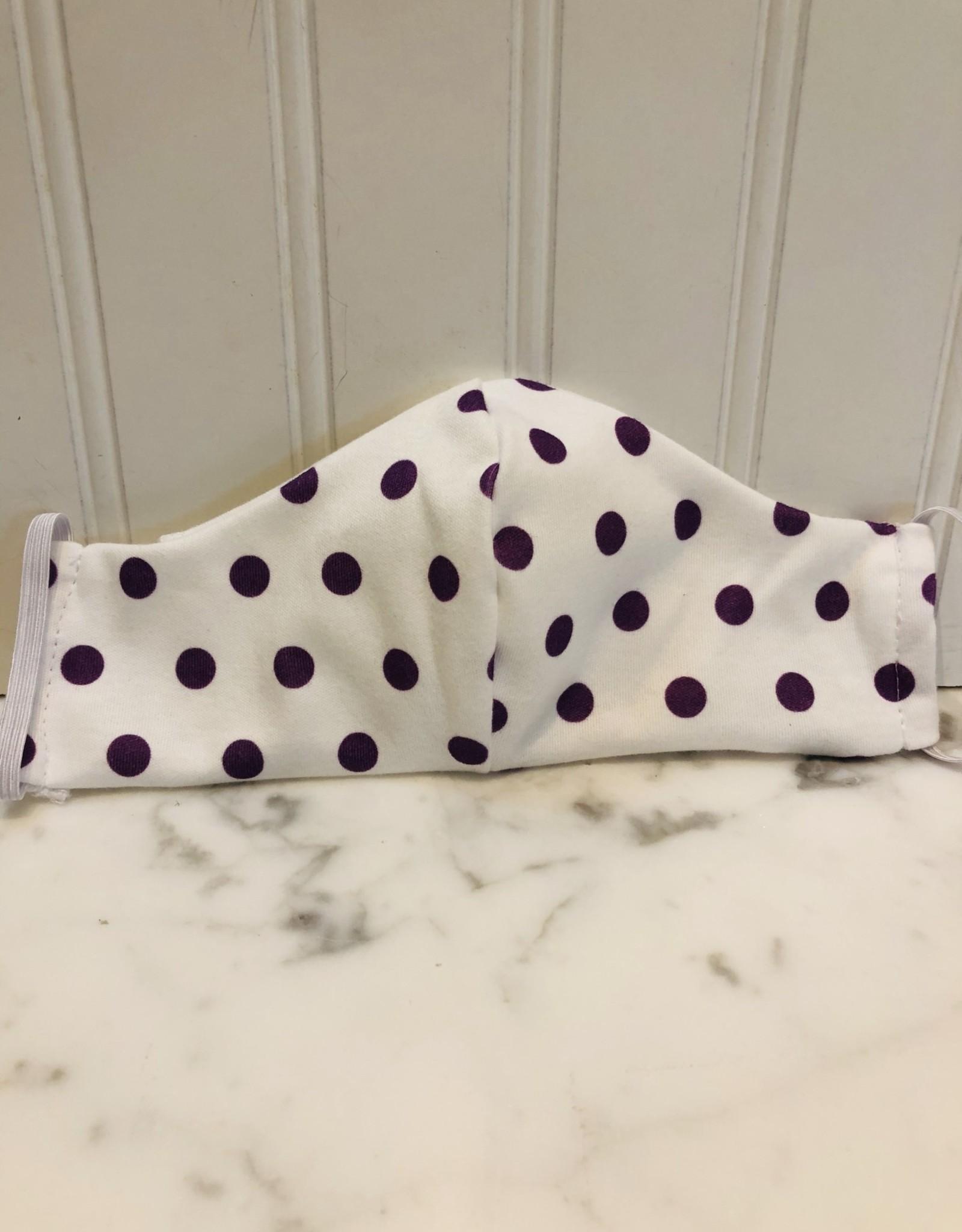 Jennifer Ann Cotton Mask - Youth Purple Polka Dot   7-13 Years