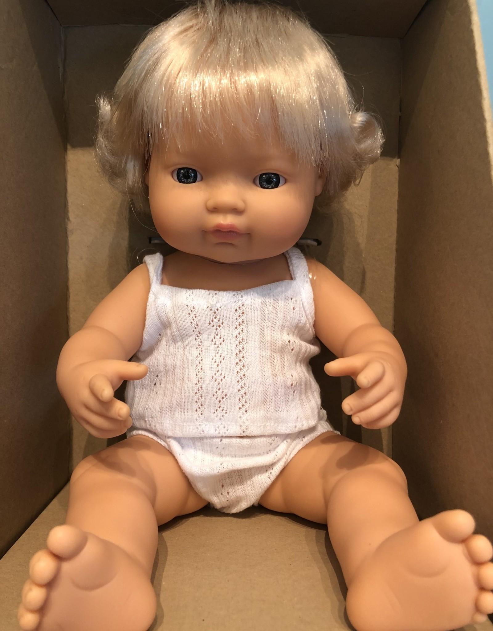 "Miniland Baby Doll Caucasian 15"" Girl"
