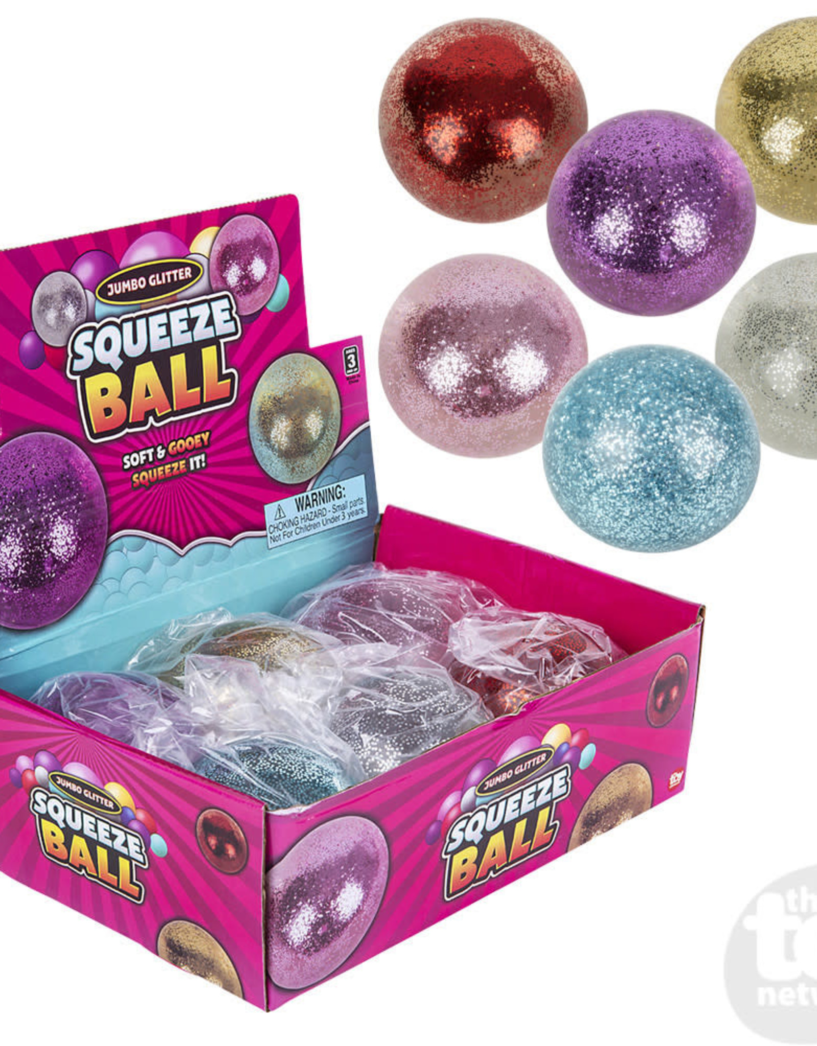 """The Toy Network 4"""" Jumbo Squeeze Glitter Ball"""