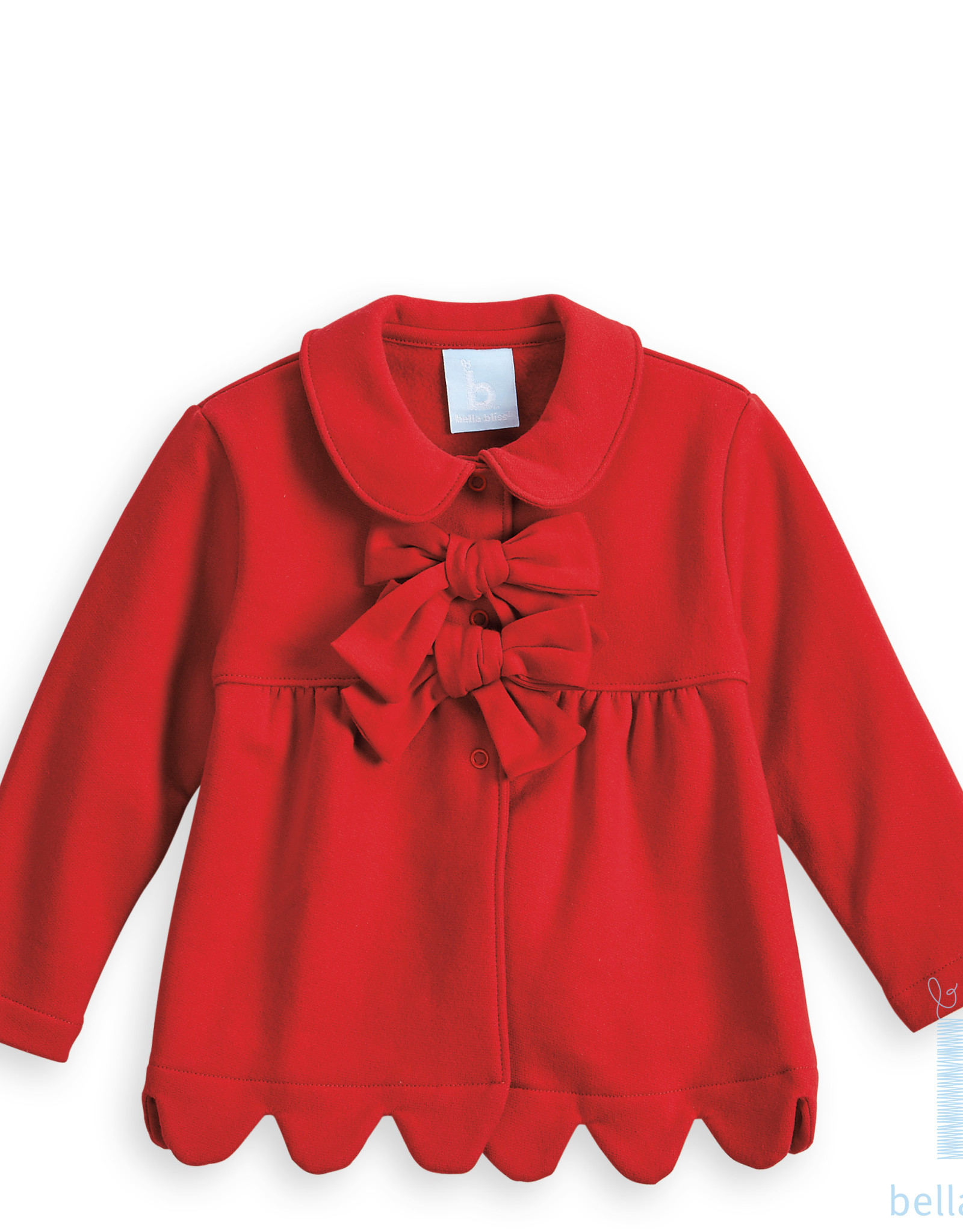 Bella Bliss Scalloped Lotus Coat, Red