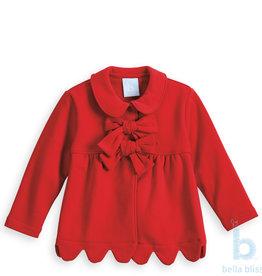Bella Bliss Scalloped Lotus Coat, Red