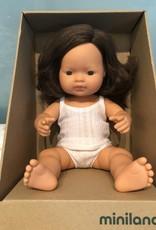 """Miniland Baby Doll Brunette 15"""" Girl"""
