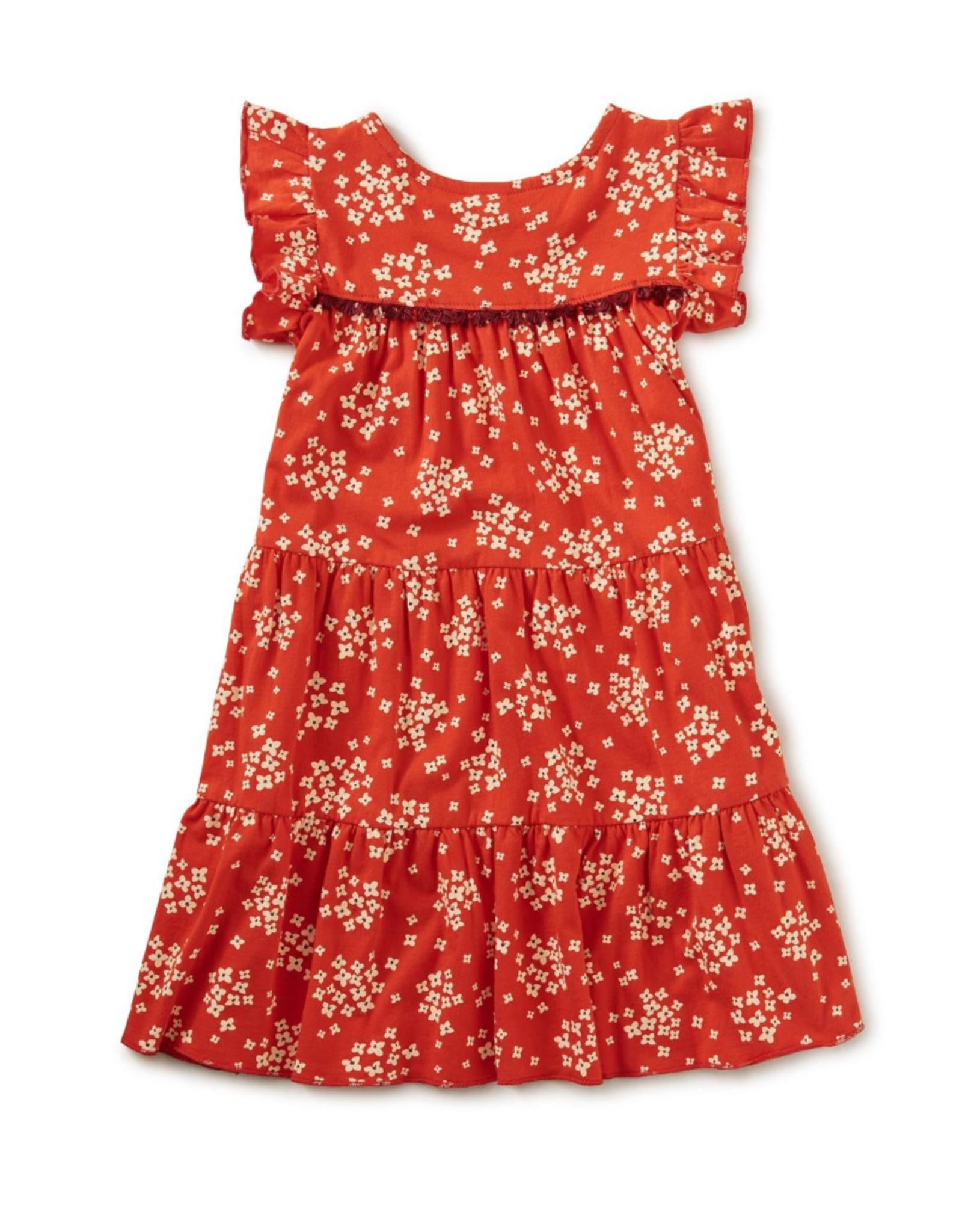 Tea Tassel Trim Tiered Dress, Scarlet
