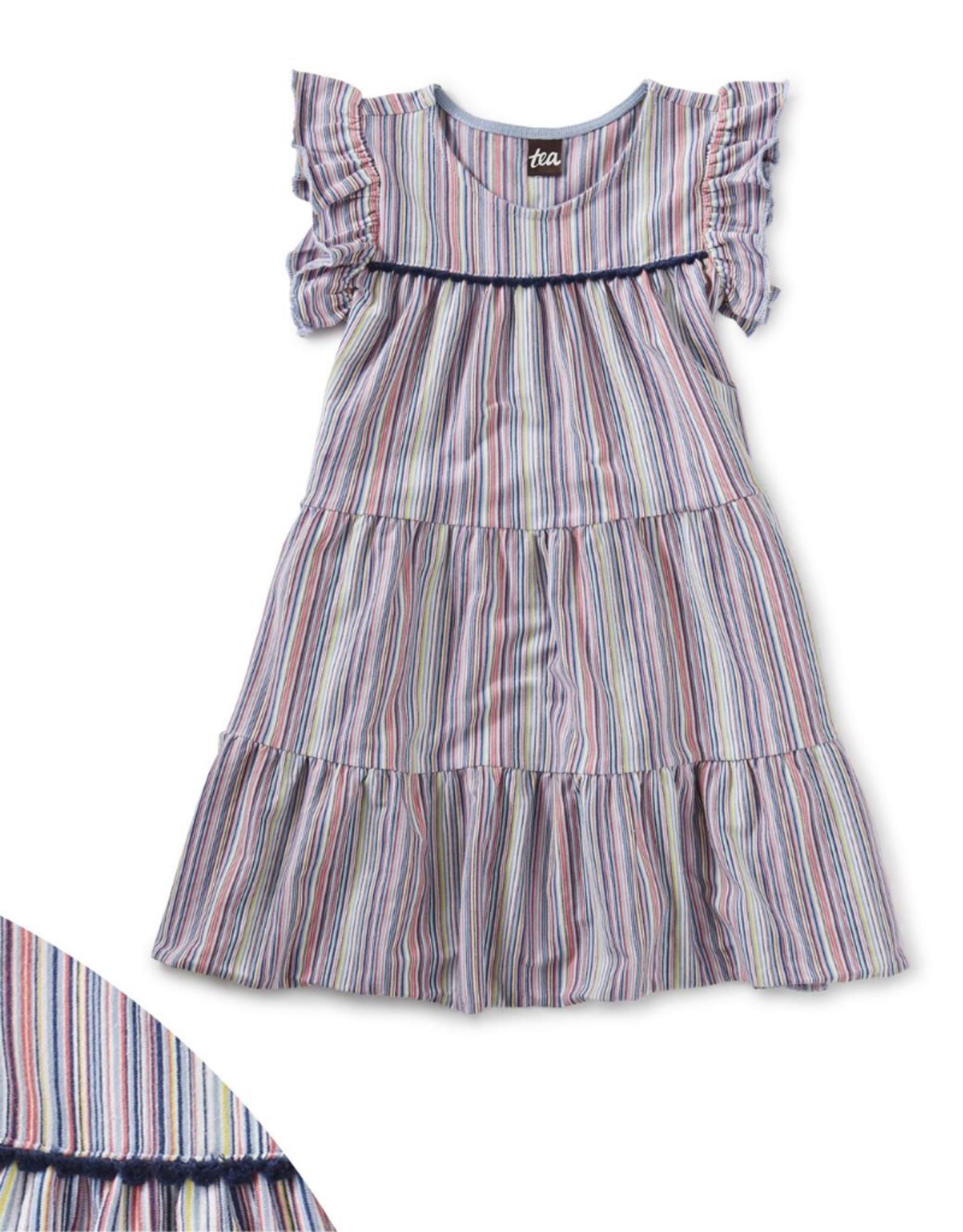 Tea Tassel Trim Tiered Dress, Cloud