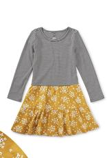 Tea Tiered Skirted Dress, Golden Wildflowers