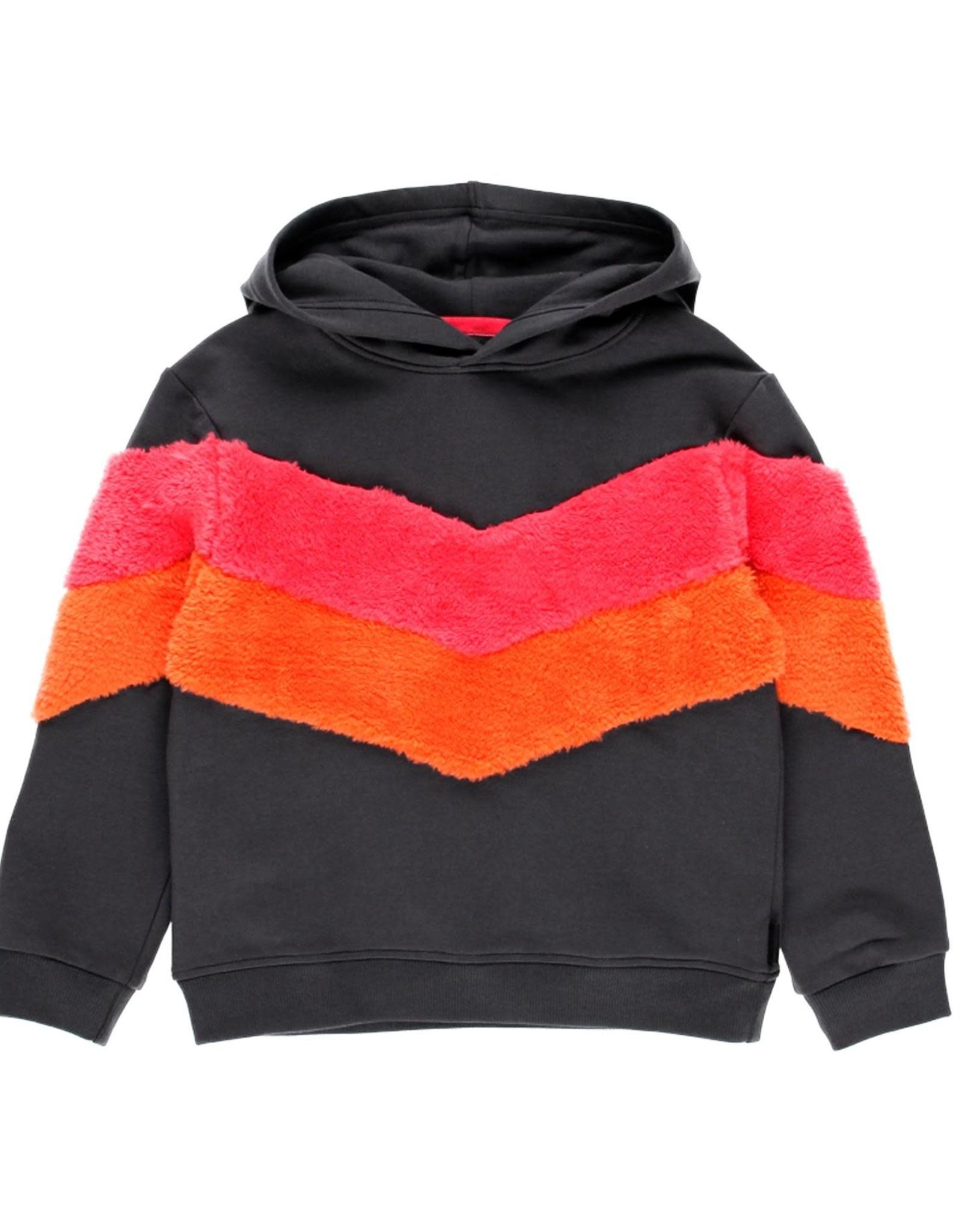 Boboli hooded fleece sweatshirt with pink/ orange stripes