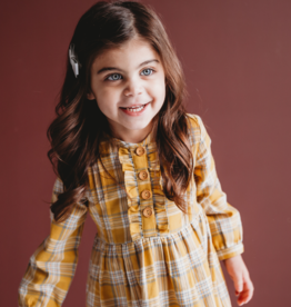 Ren & Rouge Ren & Rouge Yellow Plaid Ruffle Dress