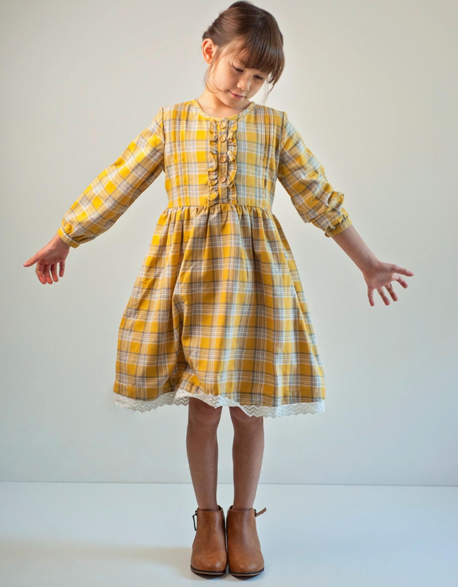 Ren & Rouge Ren & Rouge Yellow Plaid Ruffle Dress