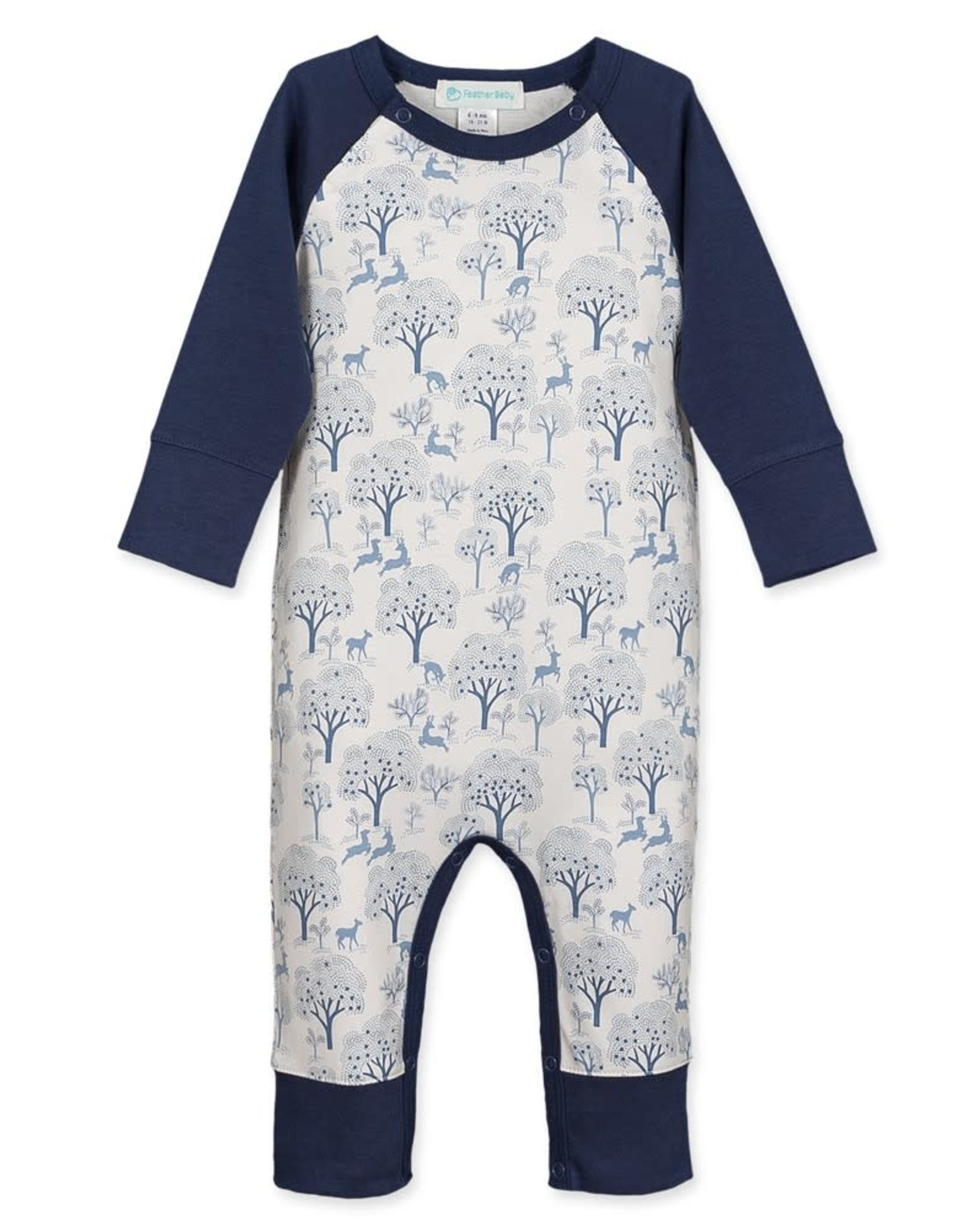 Feather Baby Sailor Sleeve Romper, Deer & Apple Trees, Indigo on White