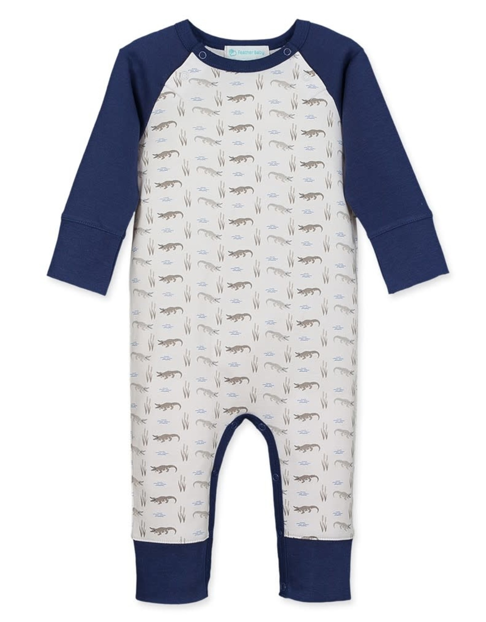 Feather Baby Sailor Sleeve Romper, Alligators on White